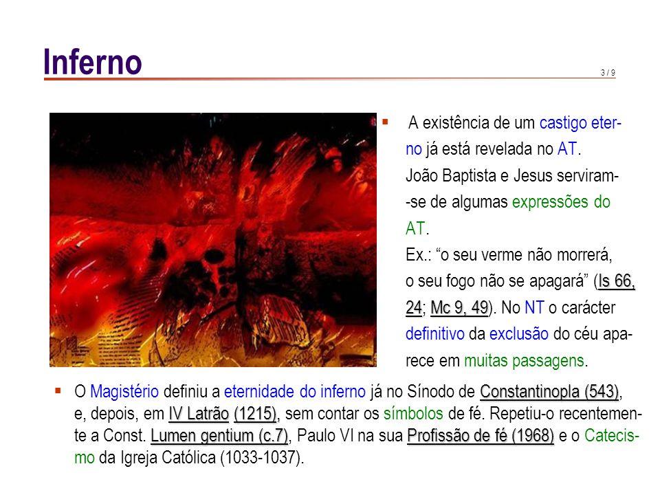 Inferno A sua Verdade é ensinada pela Revelação e definida como dogma de fé pelo Magistério.