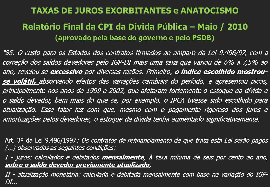 TAXAS DE JUROS EXORBITANTES e ANATOCISMO