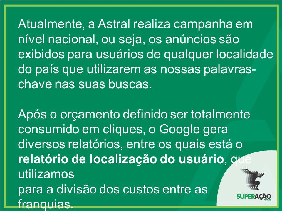 Atualmente, a Astral realiza campanha em nível nacional, ou seja, os anúncios são exibidos para usuários de qualquer localidade do país que utilizarem as nossas palavras-chave nas suas buscas.