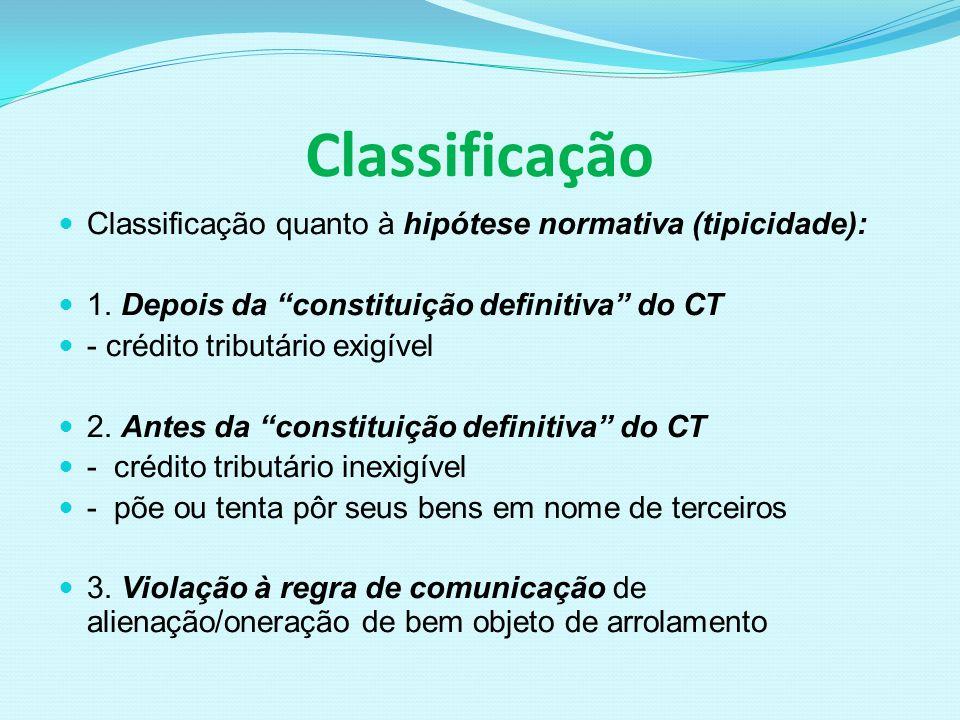 Classificação Classificação quanto à hipótese normativa (tipicidade):