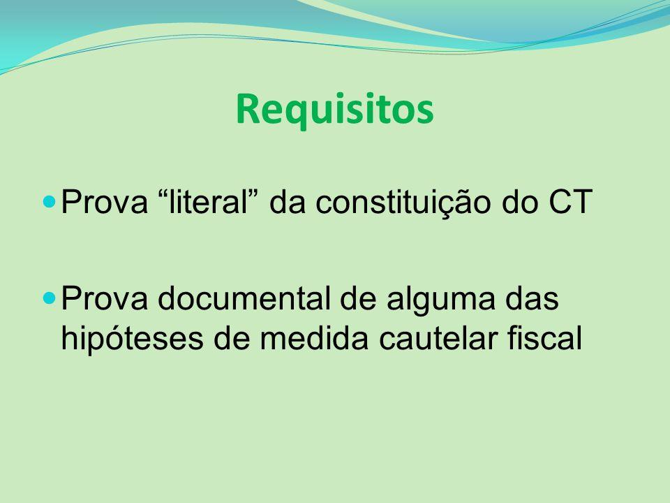 Requisitos Prova literal da constituição do CT