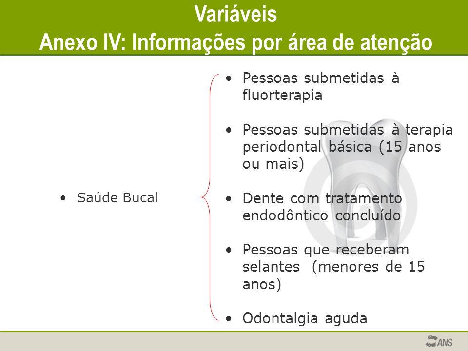 Anexo IV: Informações por área de atenção