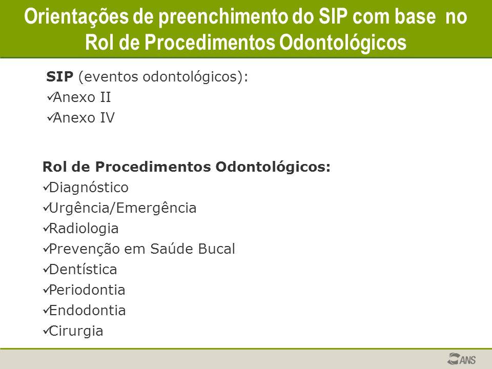 Orientações de preenchimento do SIP com base no Rol de Procedimentos Odontológicos