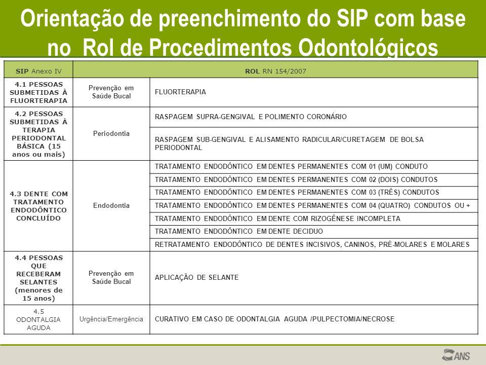 Orientação de preenchimento do SIP com base no Rol de Procedimentos Odontológicos
