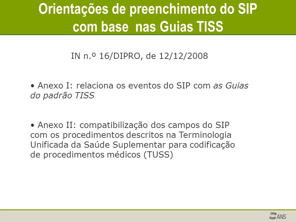 Orientações de preenchimento do SIP com base nas Guias TISS