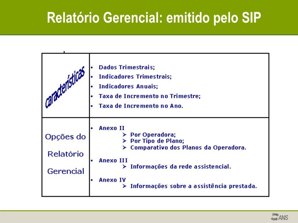 Relatório Gerencial: emitido pelo SIP