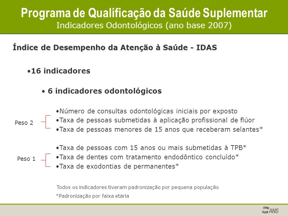 Programa de Qualificação da Saúde Suplementar Indicadores Odontológicos (ano base 2007)