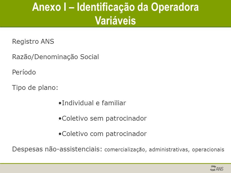 Anexo I – Identificação da Operadora