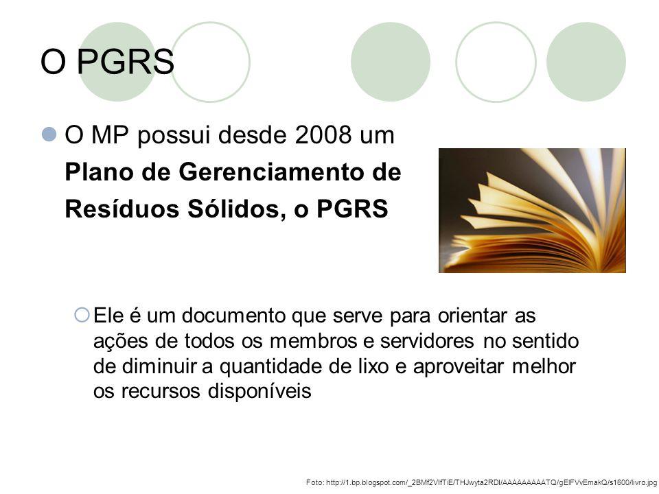 O PGRS O MP possui desde 2008 um Plano de Gerenciamento de