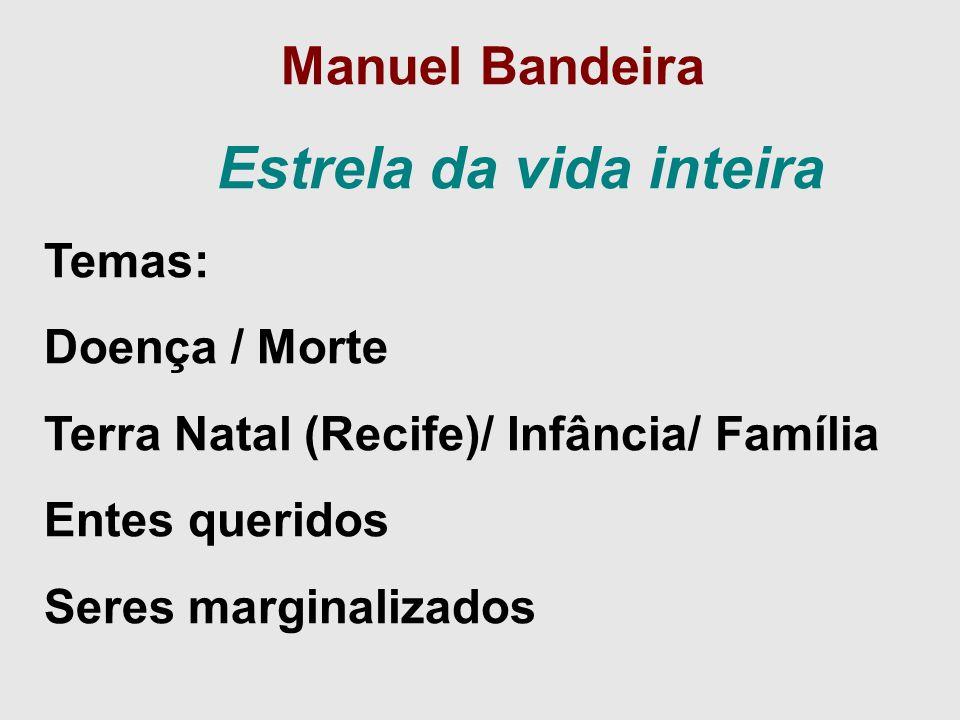 Manuel Bandeira Estrela da vida inteira Temas: Doença / Morte