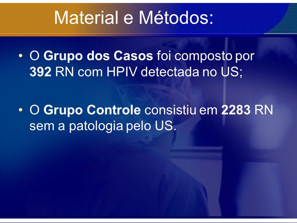 Material e Métodos: O Grupo dos Casos foi composto por 392 RN com HPIV detectada no US;