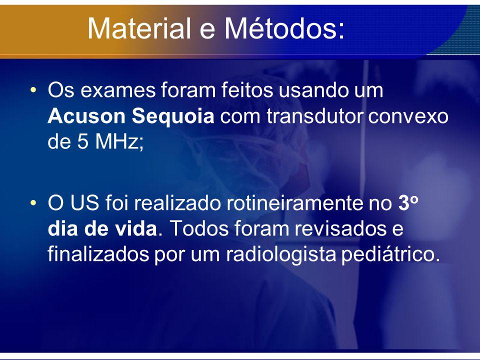 Material e Métodos: Os exames foram feitos usando um Acuson Sequoia com transdutor convexo de 5 MHz;