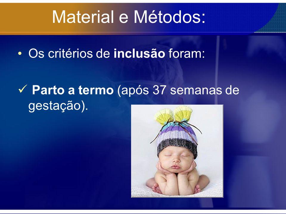 Material e Métodos: Os critérios de inclusão foram: