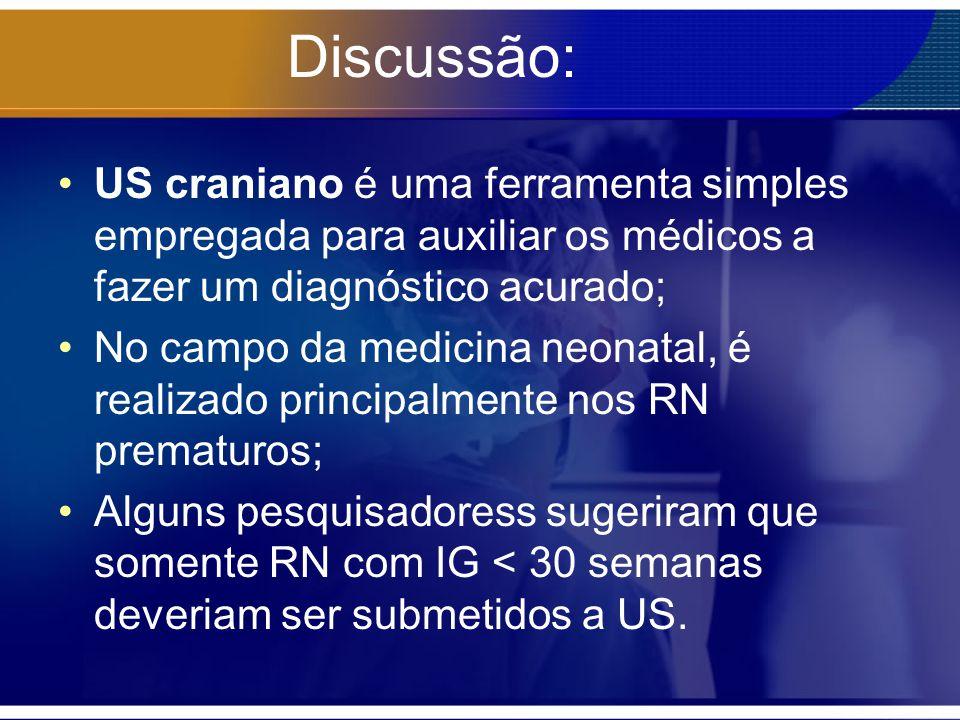 Discussão: US craniano é uma ferramenta simples empregada para auxiliar os médicos a fazer um diagnóstico acurado;