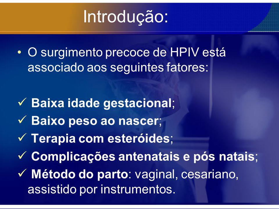 Introdução: O surgimento precoce de HPIV está associado aos seguintes fatores: Baixa idade gestacional;