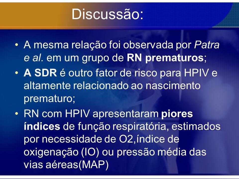 Discussão: A mesma relação foi observada por Patra e al. em um grupo de RN prematuros;