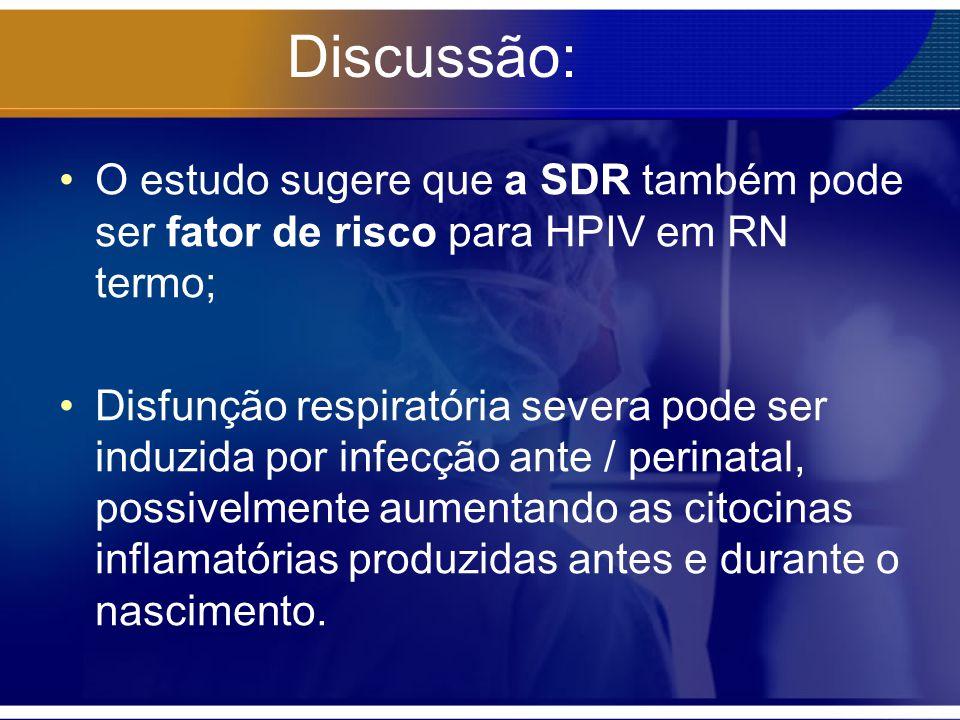 Discussão: O estudo sugere que a SDR também pode ser fator de risco para HPIV em RN termo;
