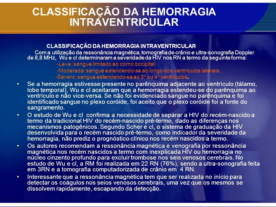 CLASSIFICAÇÃO DA HEMORRAGIA INTRAVENTRICULAR