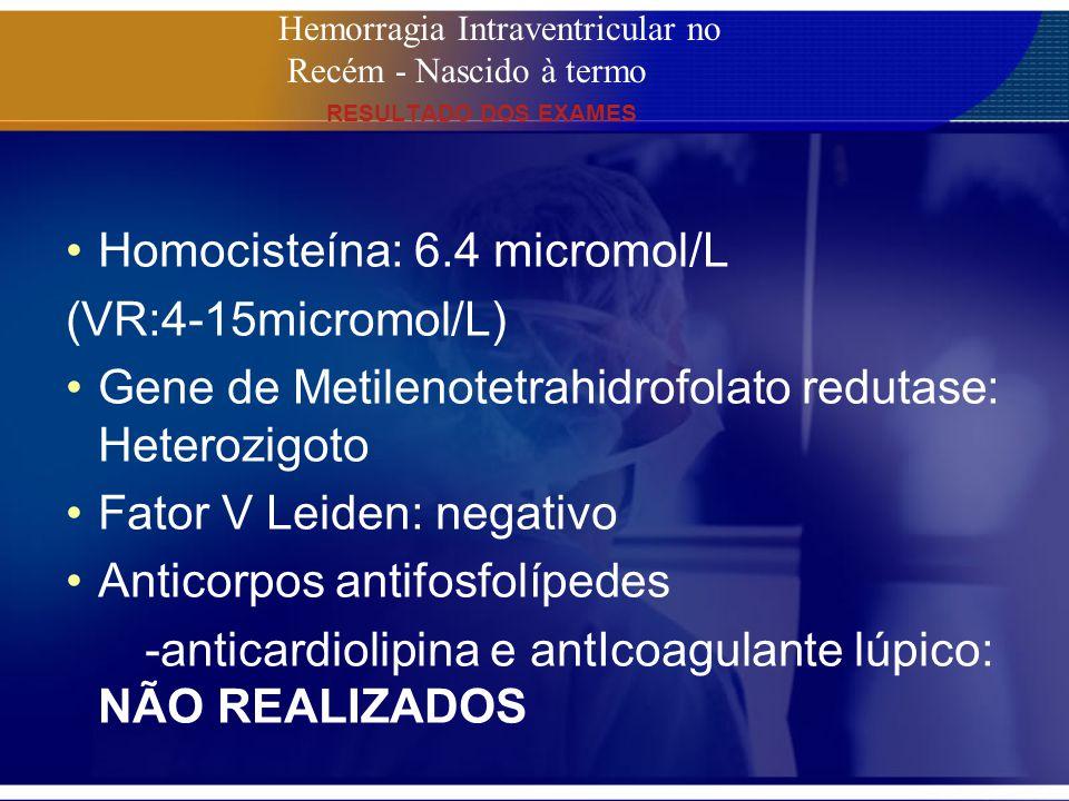 Homocisteína: 6.4 micromol/L (VR:4-15micromol/L)