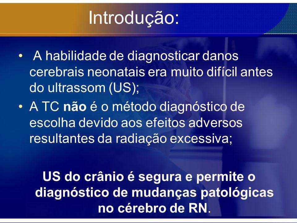 Introdução: A habilidade de diagnosticar danos cerebrais neonatais era muito difícil antes do ultrassom (US);