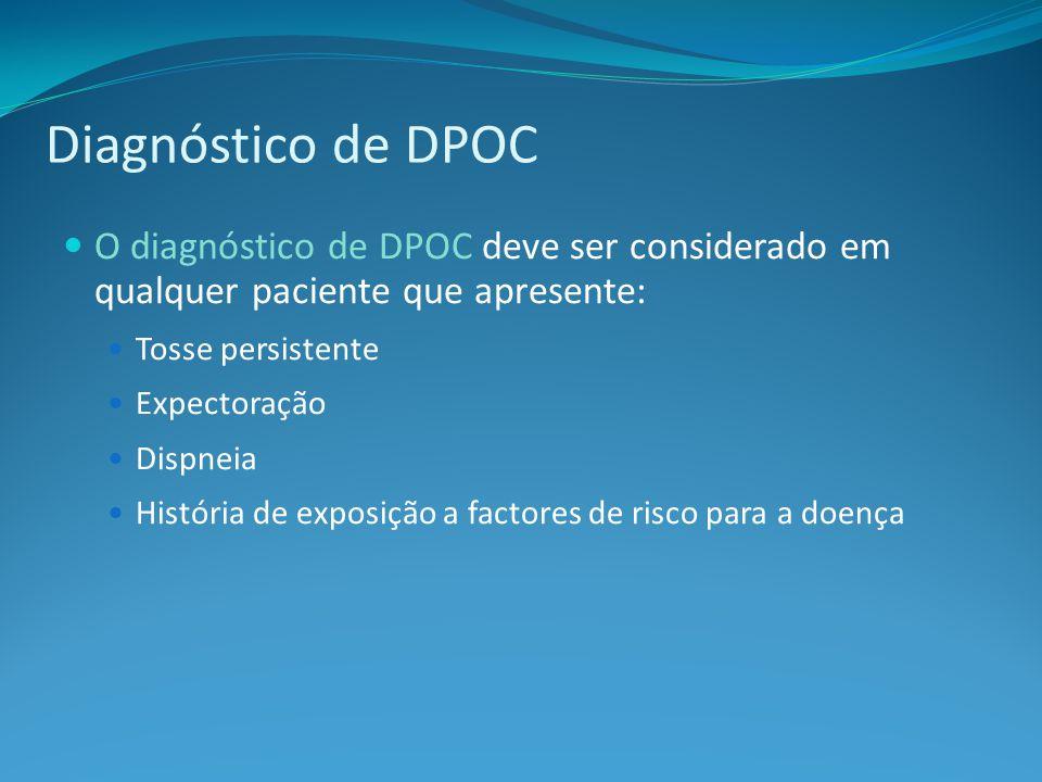 Diagnóstico de DPOC O diagnóstico de DPOC deve ser considerado em qualquer paciente que apresente: