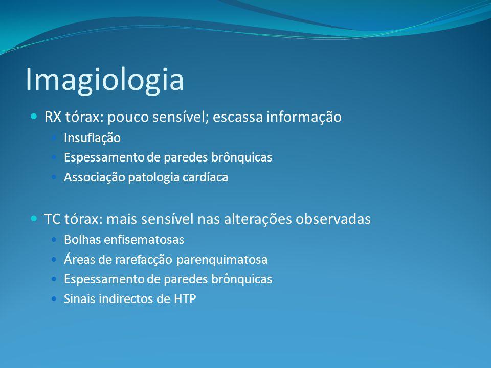 Imagiologia RX tórax: pouco sensível; escassa informação