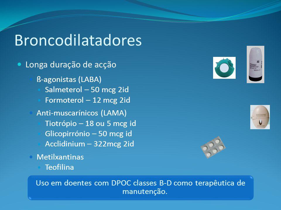 Uso em doentes com DPOC classes B-D como terapêutica de manutenção.