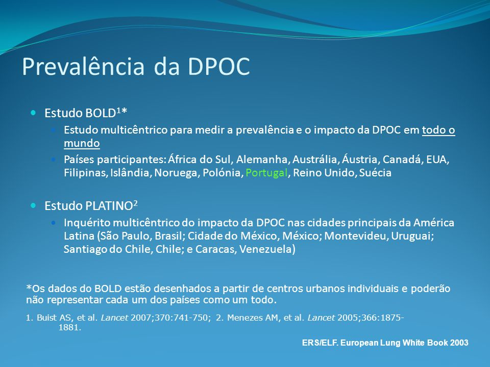 Prevalência da DPOC Estudo BOLD1* Estudo PLATINO2
