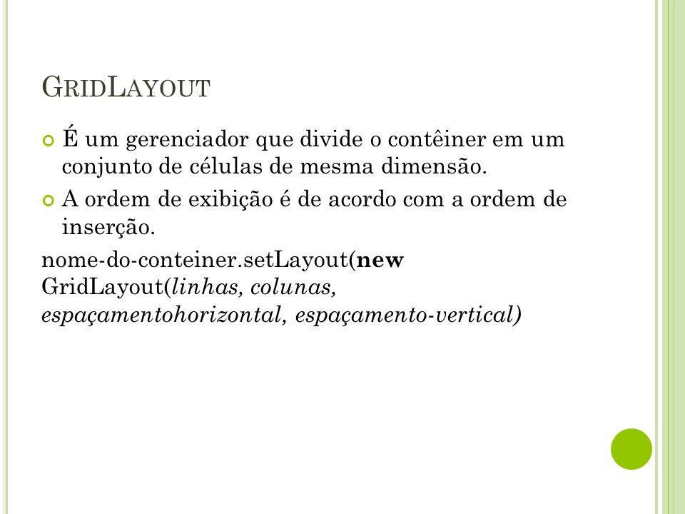 GridLayout É um gerenciador que divide o contêiner em um conjunto de células de mesma dimensão.