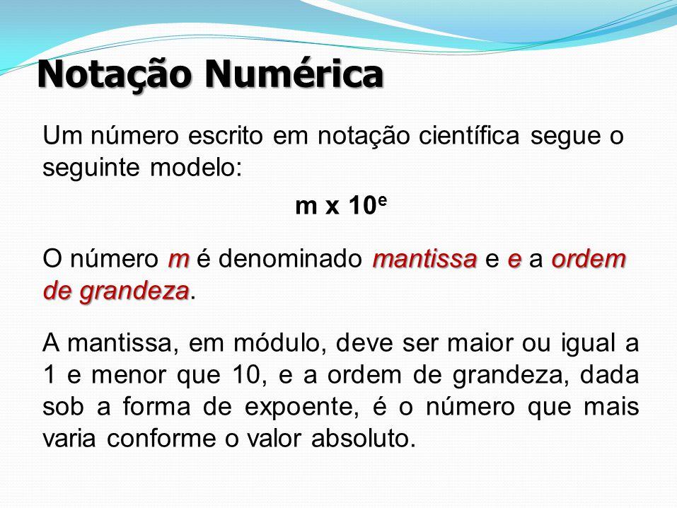 Notação Numérica Um número escrito em notação científica segue o seguinte modelo: m x 10e.