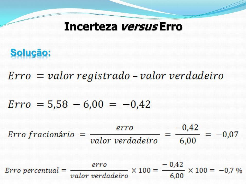 Incerteza versus Erro Solução: