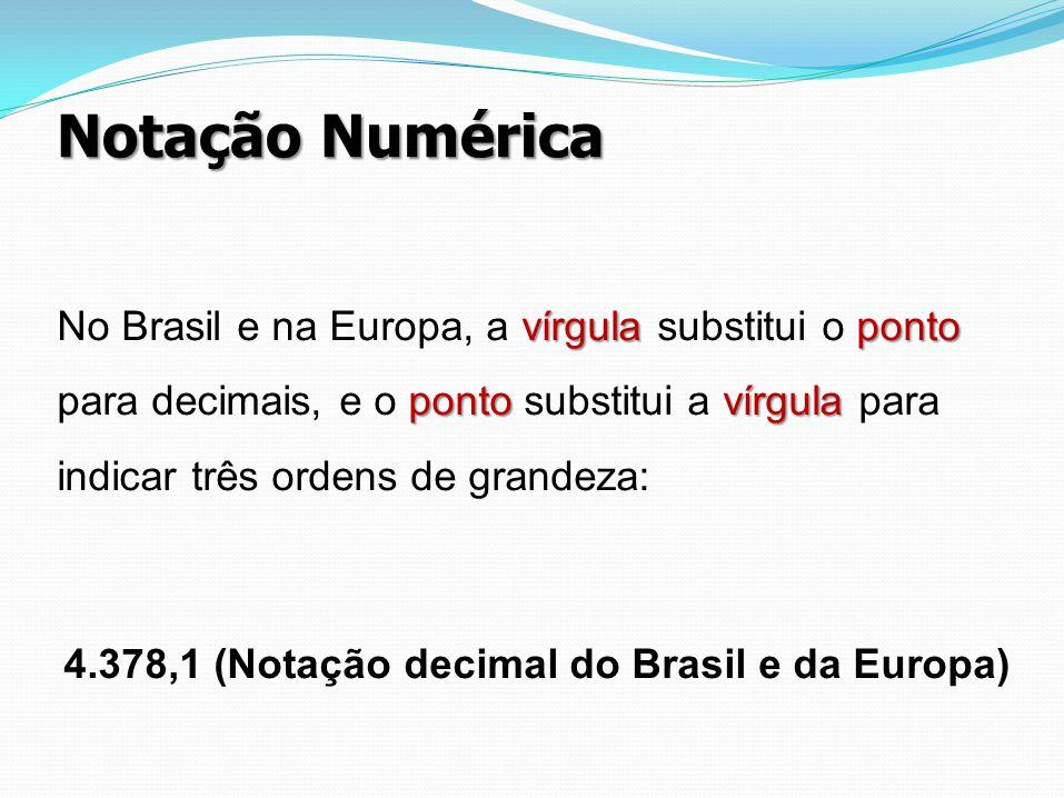 4.378,1 (Notação decimal do Brasil e da Europa)