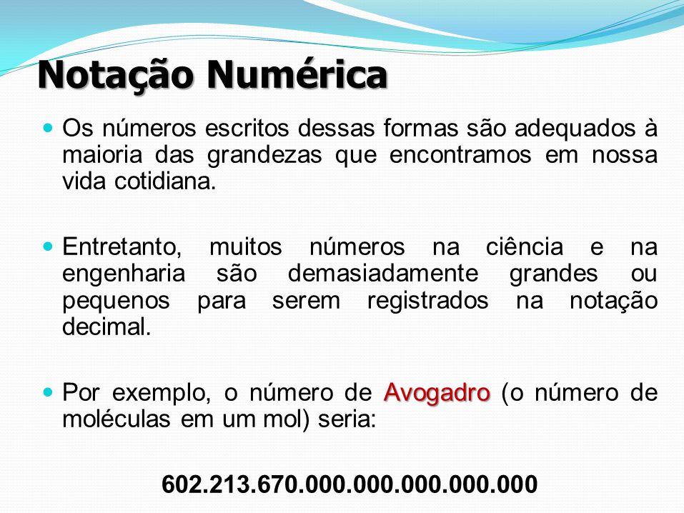 Notação Numérica Os números escritos dessas formas são adequados à maioria das grandezas que encontramos em nossa vida cotidiana.