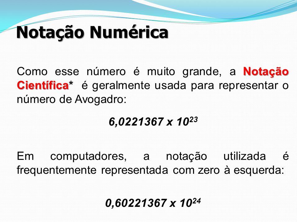 Notação Numérica Como esse número é muito grande, a Notação Científica* é geralmente usada para representar o número de Avogadro: