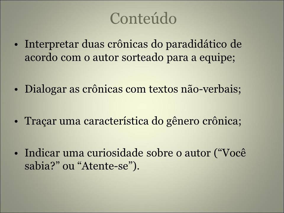 Conteúdo Interpretar duas crônicas do paradidático de acordo com o autor sorteado para a equipe; Dialogar as crônicas com textos não-verbais;