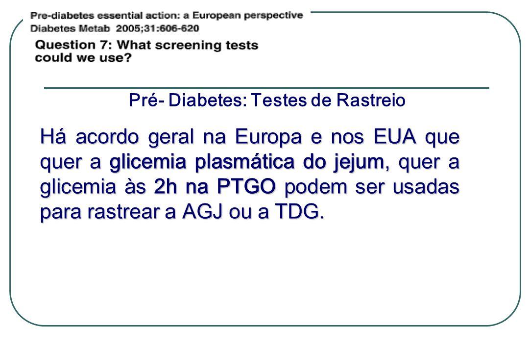 Pré- Diabetes: Testes de Rastreio