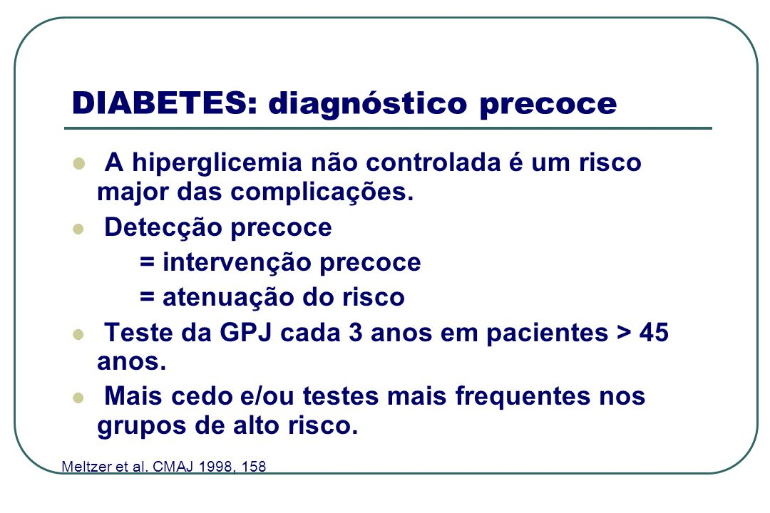 DIABETES: diagnóstico precoce