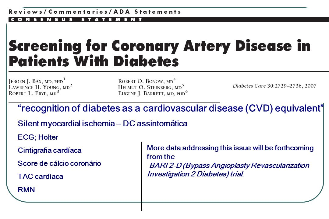 recognition of diabetes as a cardiovascular disease (CVD) equivalent