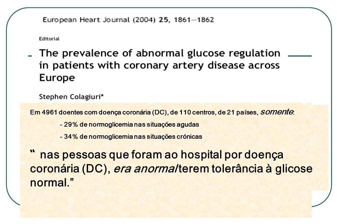 Em 4961 doentes com doença coronária (DC), de 110 centros, de 21 países, somente: