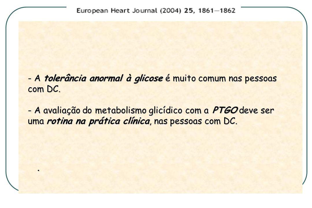 - A tolerância anormal à glicose é muito comum nas pessoas com DC.