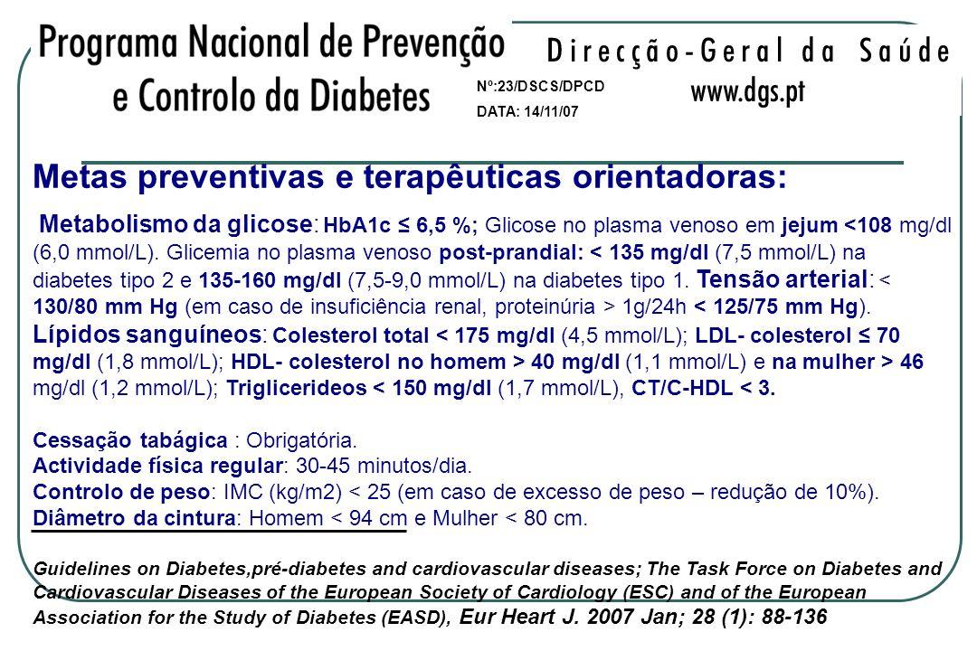 Metas preventivas e terapêuticas orientadoras: