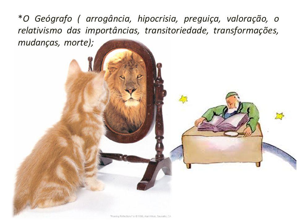 *O Geógrafo ( arrogância, hipocrisia, preguiça, valoração, o relativismo das importâncias, transitoriedade, transformações, mudanças, morte);