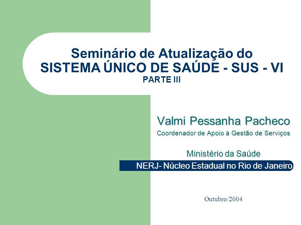 Seminário de Atualização do SISTEMA ÚNICO DE SAÚDE - SUS - VI PARTE III