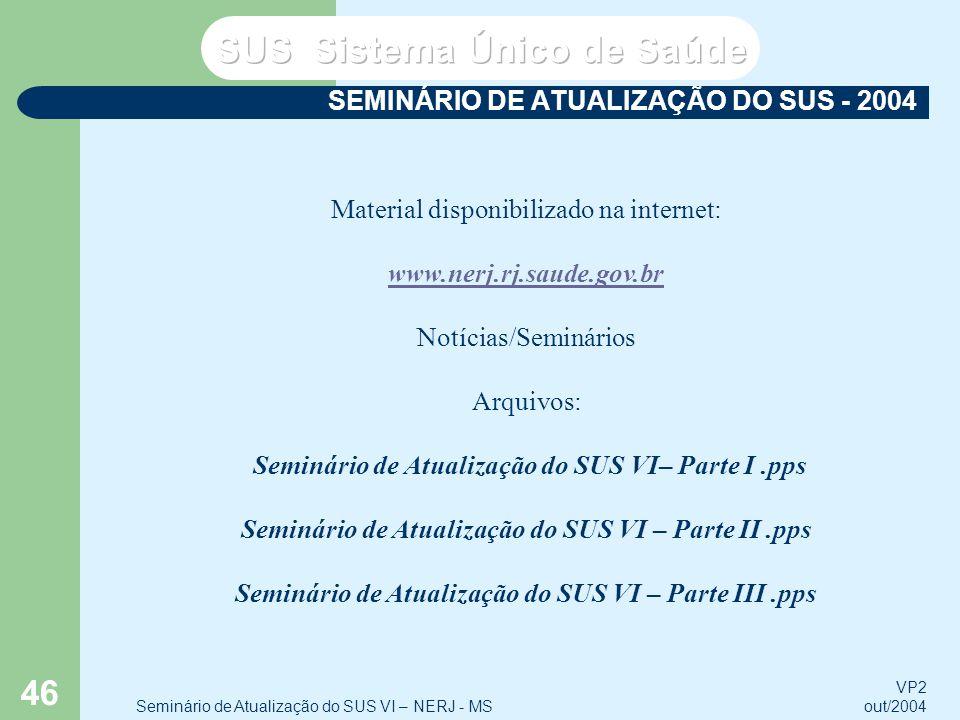 SEMINÁRIO DE ATUALIZAÇÃO DO SUS - 2004