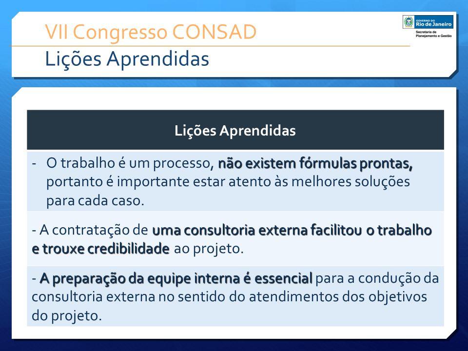 VII Congresso CONSAD Lições Aprendidas