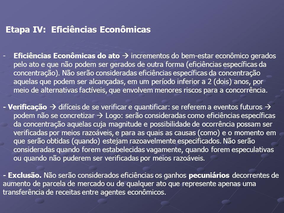 Etapa IV: Eficiências Econômicas