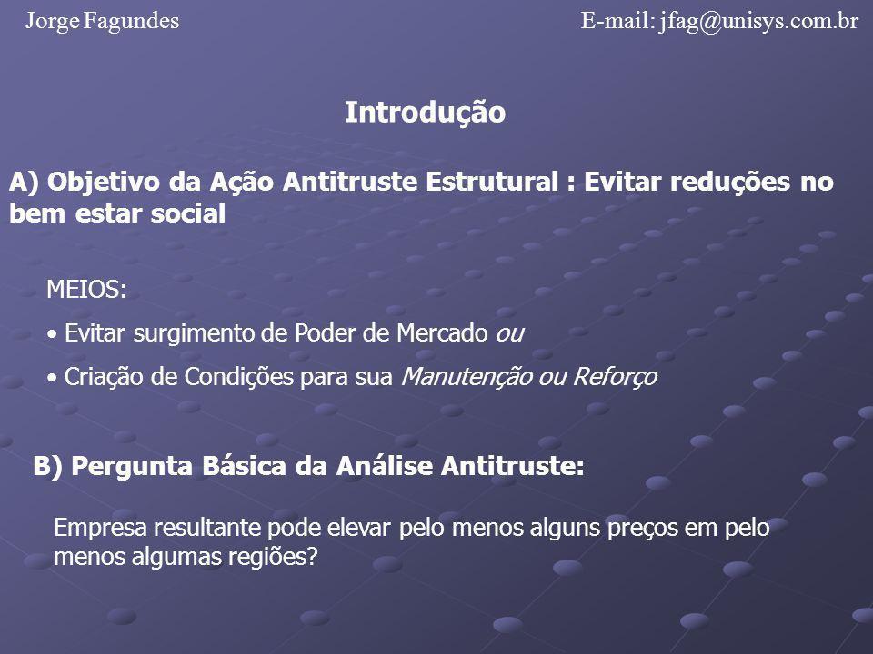 Jorge Fagundes E-mail: jfag@unisys.com.br. Introdução. A) Objetivo da Ação Antitruste Estrutural : Evitar reduções no bem estar social.