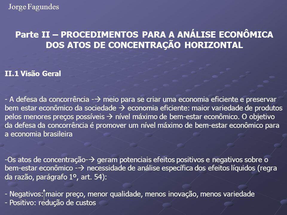 Jorge Fagundes Parte II – PROCEDIMENTOS PARA A ANÁLISE ECONÔMICA DOS ATOS DE CONCENTRAÇÃO HORIZONTAL.