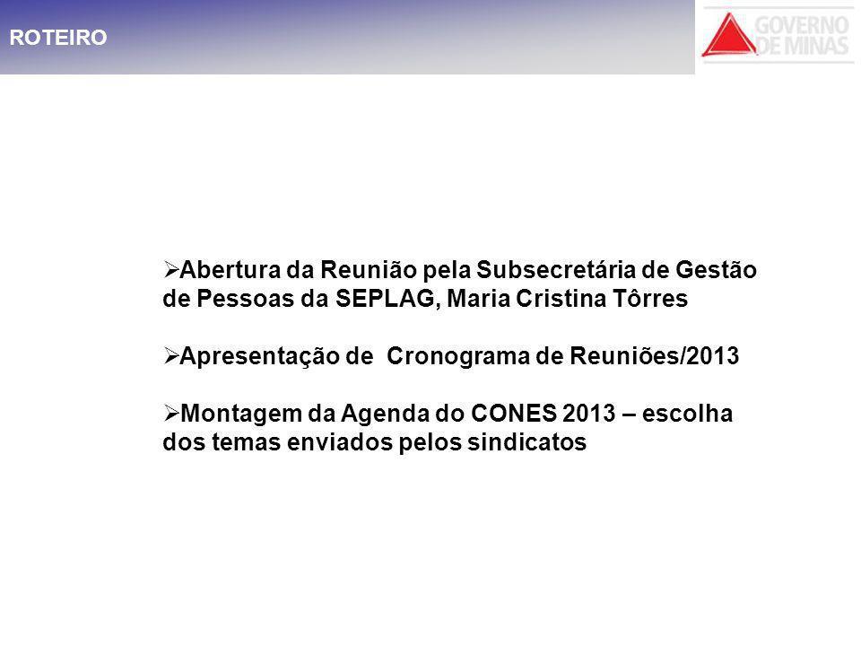 Apresentação de Cronograma de Reuniões/2013