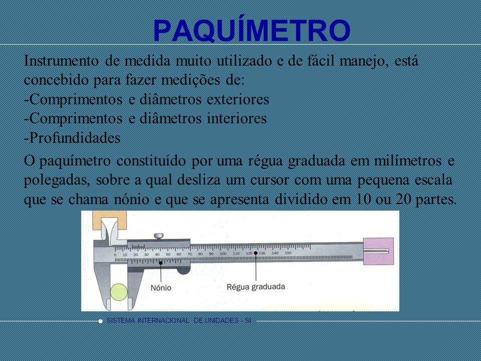 PAQUÍMETRO Instrumento de medida muito utilizado e de fácil manejo, está concebido para fazer medições de: